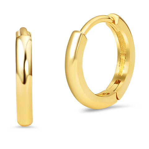 14k Gold Plated Brass Small Plain Hoop Huggie Baby Girls Earrings