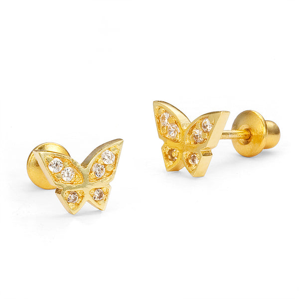 14k Gold Plated Brass Butterfly Cubic Zirconia Screwback Baby Earrings with Sterling Silver Post