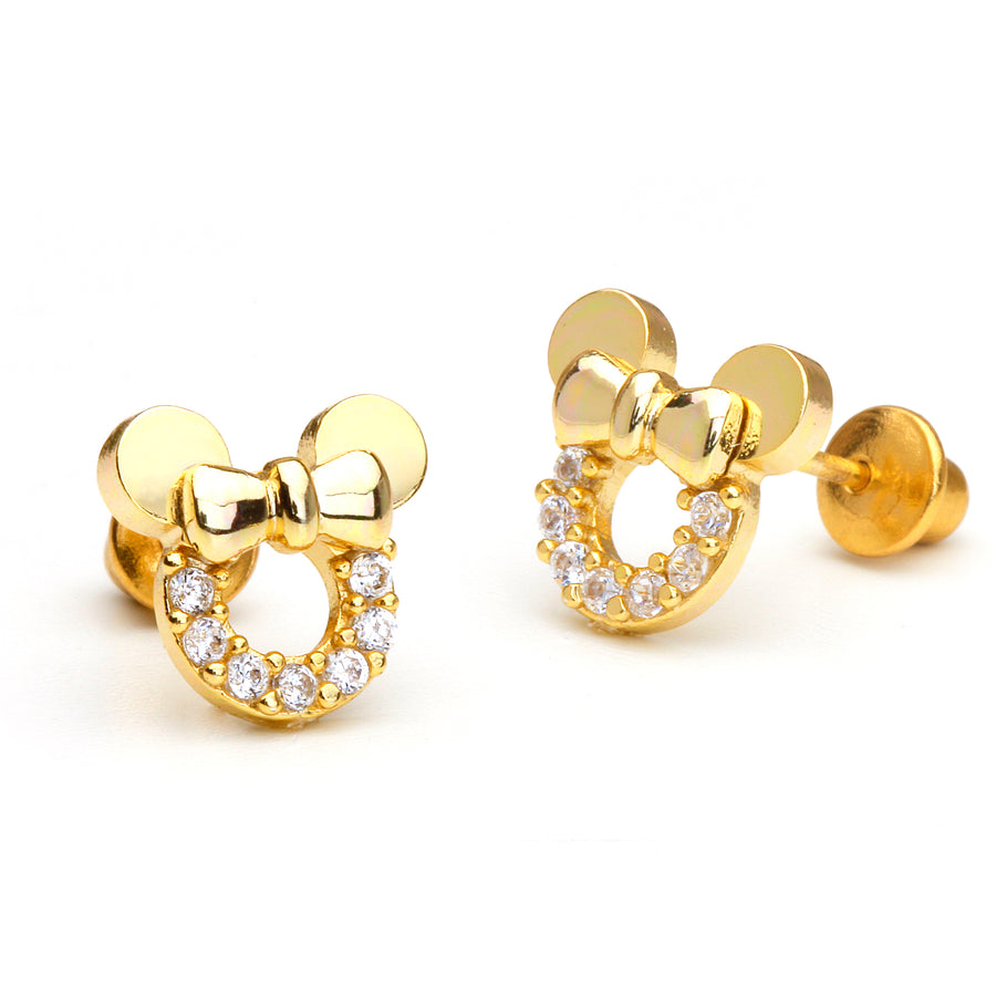 14k Gold Plated Brass Mouse CZ Screwback Baby Girl Earrings Sterling Silver Post