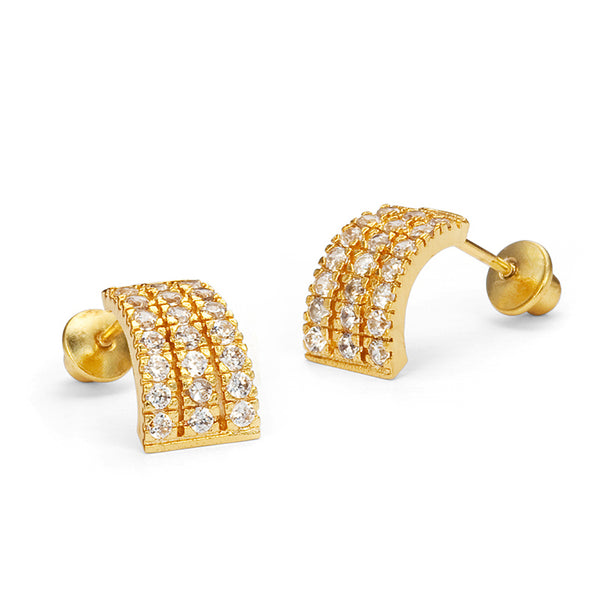 14k Gold Plated Brass 3 Line Cubic Zirconia Screwback Baby Girls Earrings with Sterling Silver Post
