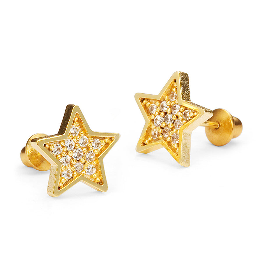 14k Gold Plated Brass Star CZ Screwback Baby Girls Earrings with Silver Post