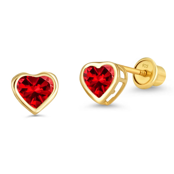 14k Gold Plated Brass 4mm January Birth Heart Cubic Zirconia Screwback Girls Earrings with Sterling Silver Post