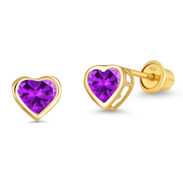 14k Gold Plated Brass 4mm February Birth Heart Cubic Zirconia Screwback Girls Earrings with Sterling Silver Post