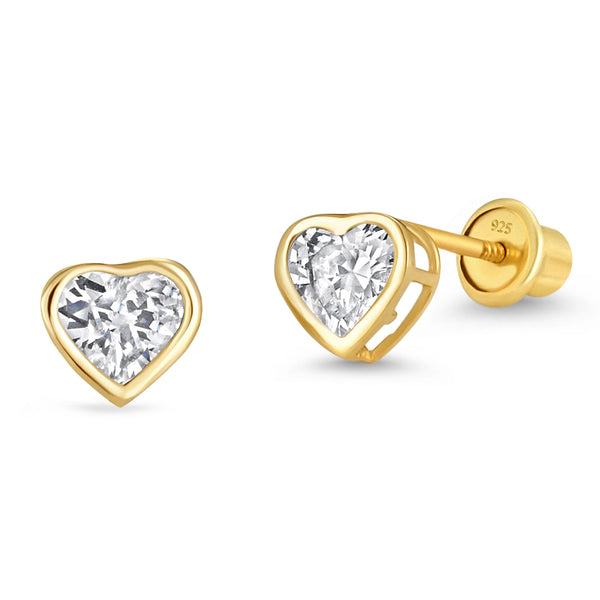 14k Gold Plated Brass 4mm April Birth Heart Cubic Zirconia Screwback Girls Earrings with Sterling Silver Post