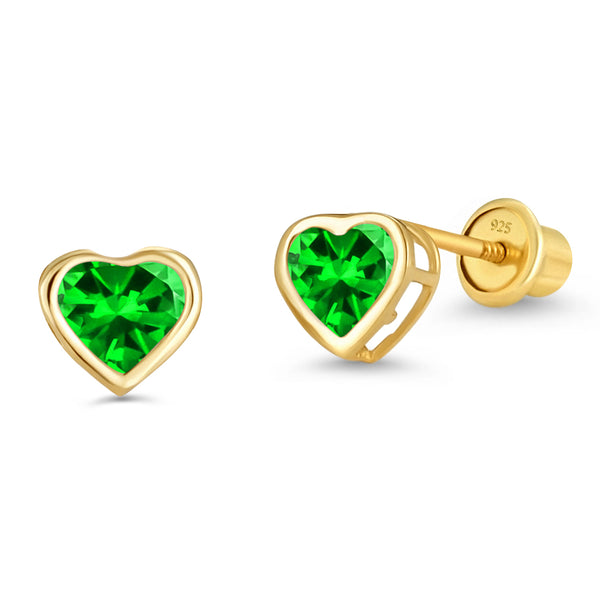 14k Gold Plated Brass 4mm May Birth Heart Cubic Zirconia Screwback Girls Earrings with Sterling Silver Post