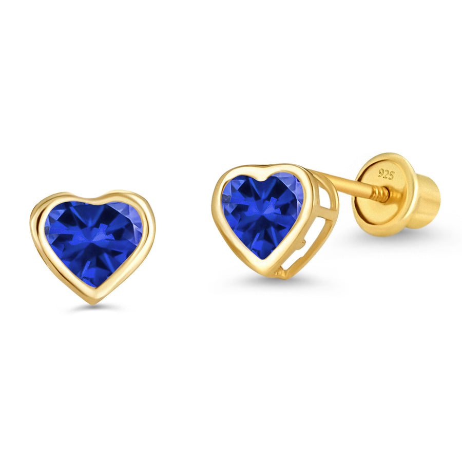 14k Gold Plated Brass Birth CZ Heart Screwback Baby Girl Earrings Silver Post
