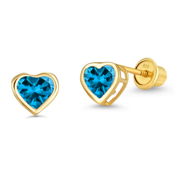 14k Gold Plated Brass 4mm December Birth Heart Cubic Zirconia Screwback Girls Earrings with Sterling Silver Post