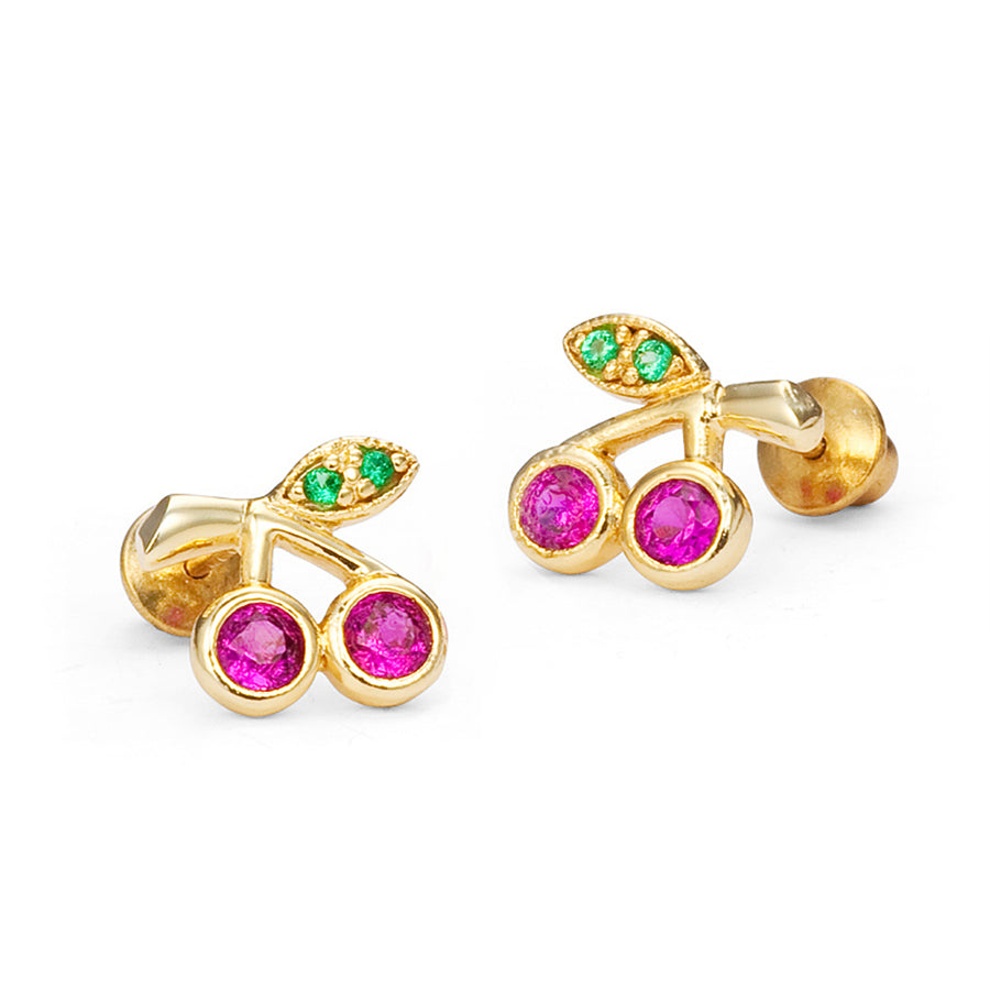 14k Gold Plated Brass Baby Cherry CZ Screwback Girls Earrings with Silver Post
