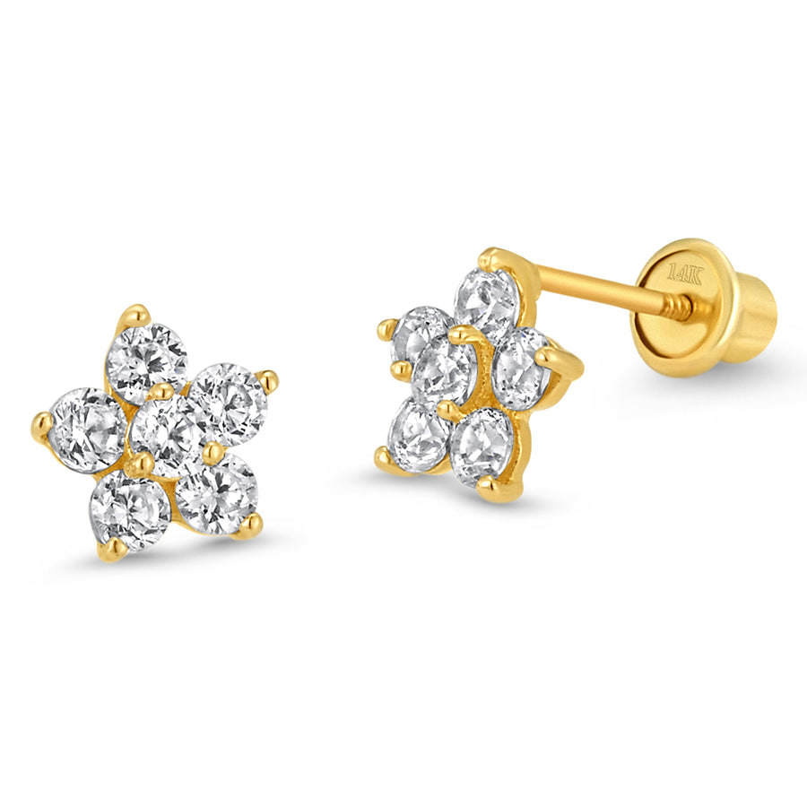 14k Gold Plated Brass Flower CZ Screwback Baby Girl Earring Sterling Silver Post
