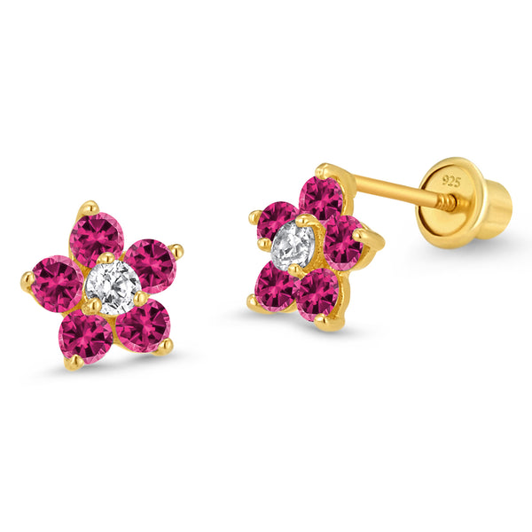 14k Gold Plated Brass July Birth Flower Cubic Zirconia Screwback Baby Girls Earrings with Sterling Silver Post