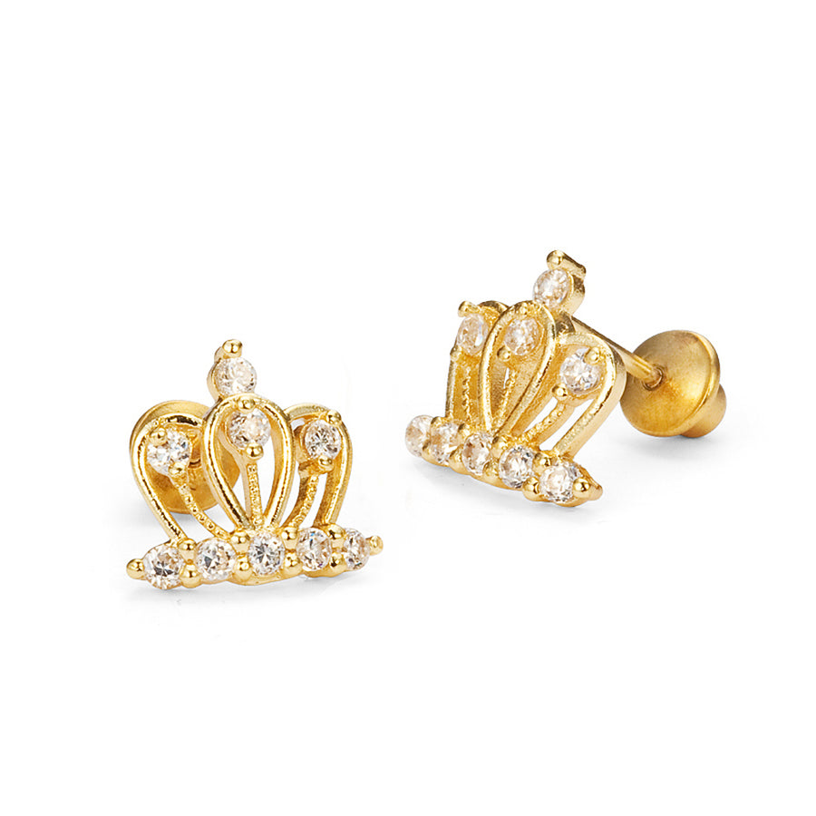 14k Gold Plated Brass Crown CZ Screwback Baby Girls Earrings with Silver Post
