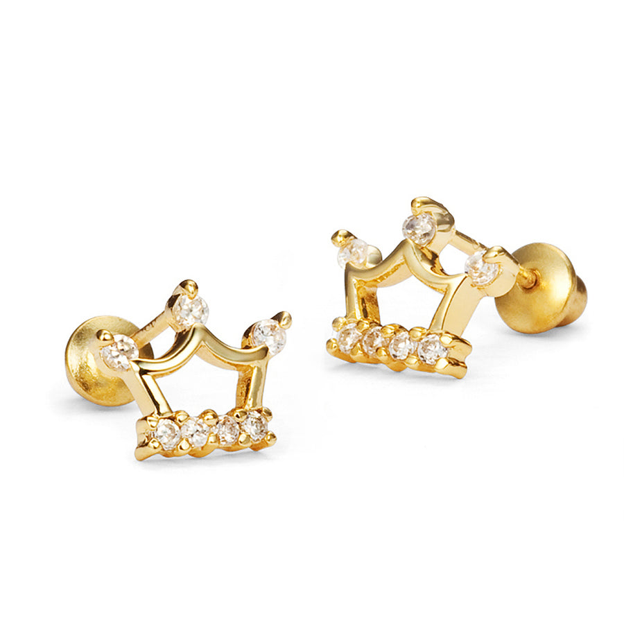 14k Gold Plated Brass Princess Crown CZ Screwback Girls Earrings Silver Post