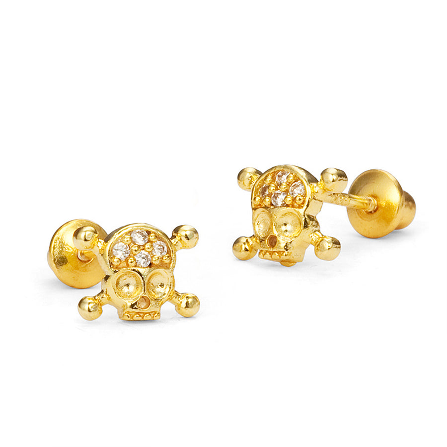 14k Gold Plated Brass Skull CZ Screwback Baby Girls Earrings with Silver Post