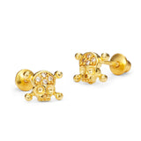 14k Gold Plated Brass Skull Cubic Zirconia Screwback Baby Girls Earrings with Sterling Silver Post