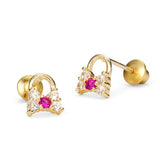 14k Gold Plated Brass Handbag Cubic Zirconia Screwback Baby Girls Earrings with Sterling Silver Post