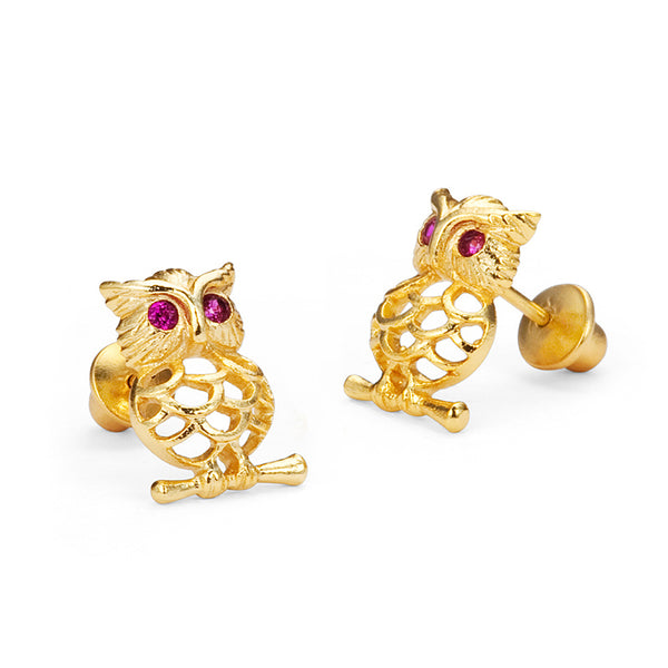 14k Gold Plated Brass Owl Cubic Zirconia Screwback Baby Girls Earrings with Sterling Silver Post
