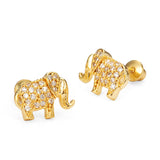 14k Gold Plated Brass Elephant Cubic Zirconia Screwback Girls Earrings with Sterling Silver Post