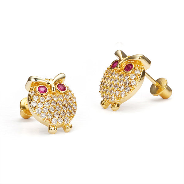 14k Gold Plated Brass 11mm Owl Cubic Zirconia Screwback Baby Girls Earrings with Sterling Silver Post