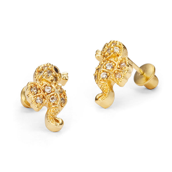 14k Gold Plated Brass Sea Horse Cubic Zirconia Screwback Girls Earrings with Sterling Silver Post