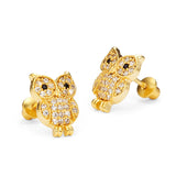 14k Gold Plated Brass Owl CZ Screwback Baby Girls Earrings Sterling Silver Post