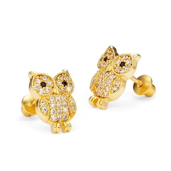 14k Gold Plated Brass 10mm Owl Cubic Zirconia Screwback Baby Girls Earrings with Sterling Silver Post