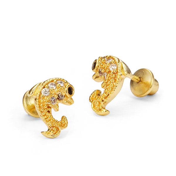 14k Gold Plated Brass Dolphin Cubic Zirconia Screwback Girls Earrings with Sterling Silver Post