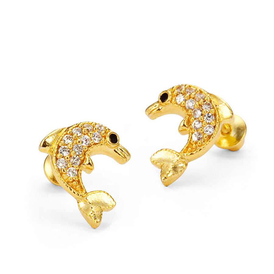 14k Gold Plated Brass Dolphin CZ Screwback Baby Girls Earrings with Silver Post