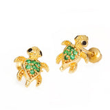 14k Gold Plated Brass Turtle Cubic Zirconia Screwback Baby Girls Earrings with Sterling Silver Post