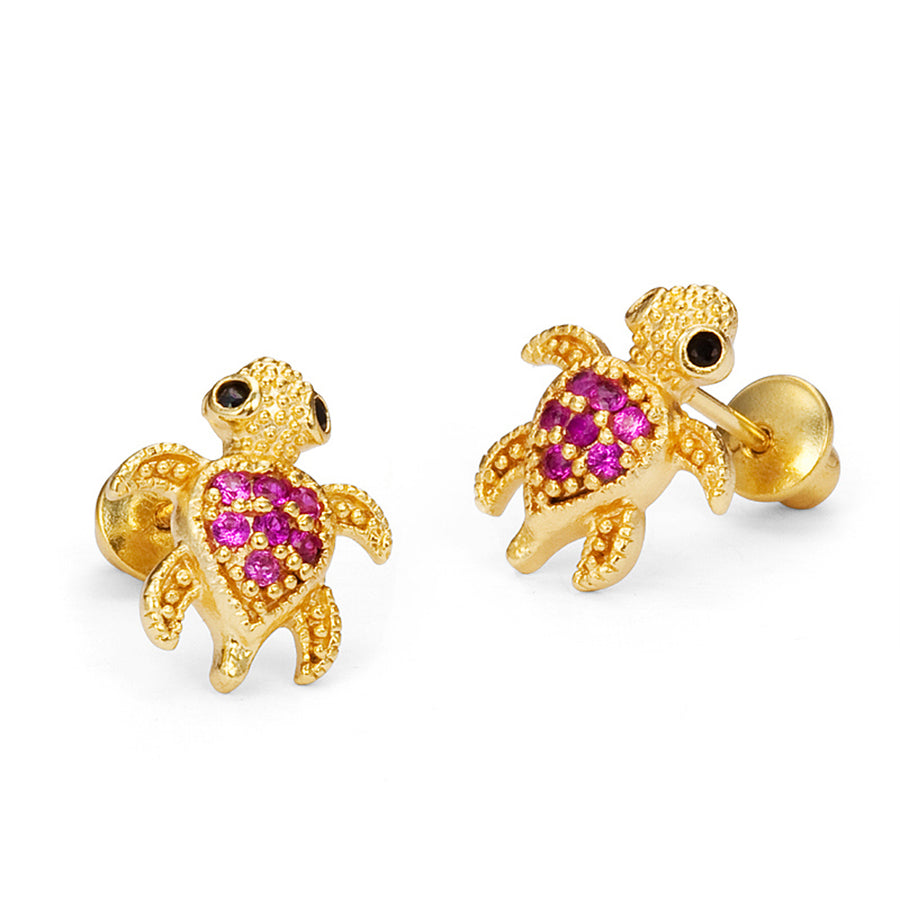 14k Gold Plated Brass Red Turtle CZ Screwback Girls Earrings with Silver Post