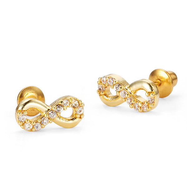 14k Gold Plated Brass Infintiy Cubic Zirconia Screwback Girls Earrings with Sterling Silver Post