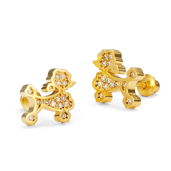 14k Gold Plated Brass Poodle Cubic Zirconia Screwback Baby Girls Earrings with Sterling Silver Post