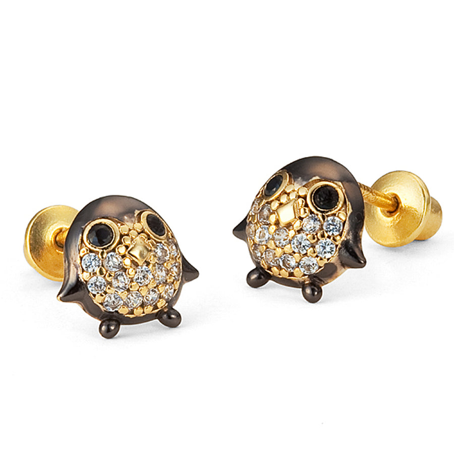 14k Gold Plated Brass Penguin CZ Screwback Baby Girls Earrings with Silver Post