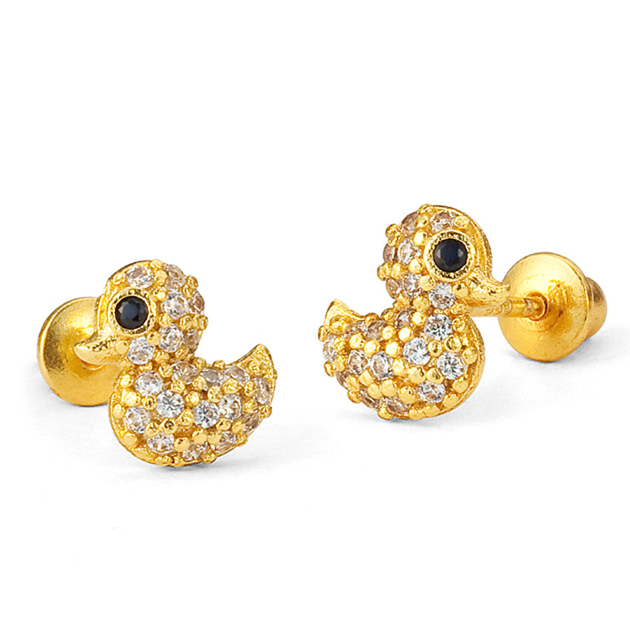 14k Gold Plated Brass Duck CZ Screwback Baby Girls Earrings Sterling Silver Post