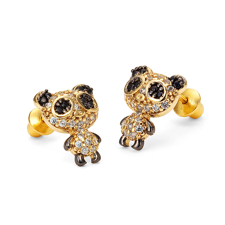 14k Gold Plated Brass Panda CZ Screwback Baby Girl Earrings Sterling Silver Post