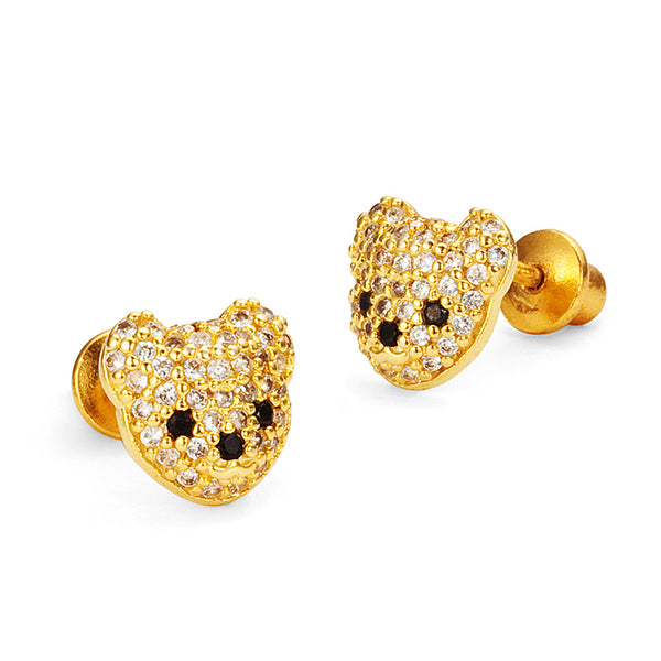 14k Gold Plated Brass Teddy Bear Cubic Zirconia Screwback Girls Earrings with Sterling Silver Post