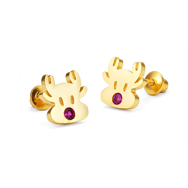 14k Gold Plated Brass Reindeer Cubic Zirconia Screwback Girls Earrings with Sterling Silver Post