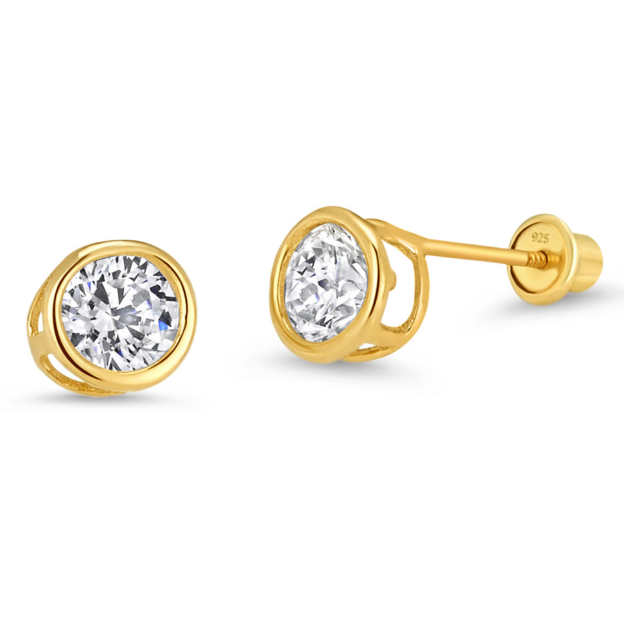 14k Gold Plated Brass 5mm Round Bezel CZ Screwback Baby Girls Earrings