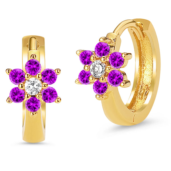 14k Gold Plated Brass Purple February Flower Cubic Zirconia Baby Hoop Huggie Baby Girls Earrings