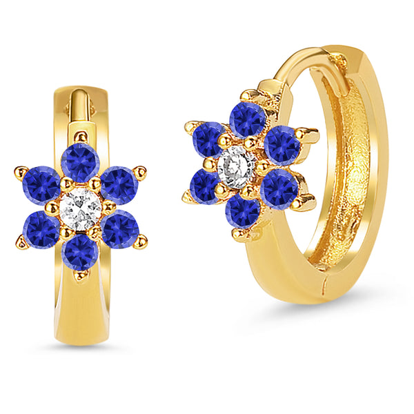 14k Gold Plated Brass Blue September Flower Cubic Zirconia Baby Hoop Huggie Baby Girls Earrings
