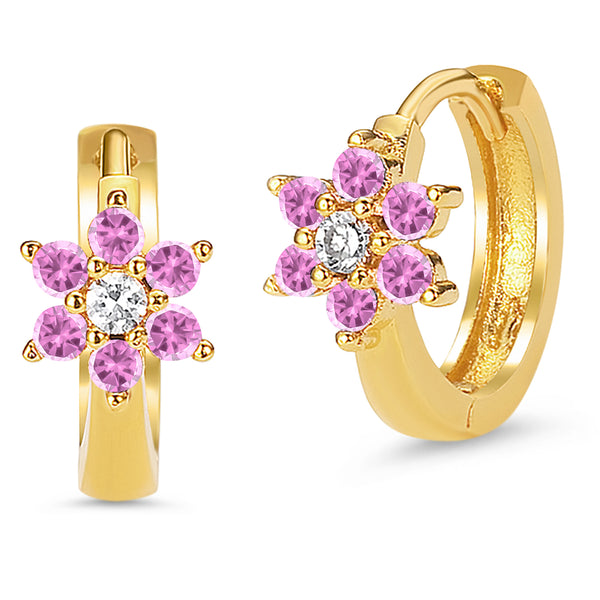 14k Gold Plated Brass Pink October Flower Cubic Zirconia Baby Hoop Huggie Baby Girls Earrings