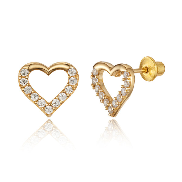 14k Gold Plated Brass 8mm Open Heart Cubic Zirconia Screwback Girls Earrings with Sterling Silver Post
