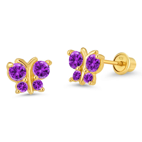 14k Gold Plated Brass Butterfly CZ Screwback Girls Earrings Sterling Silver Post