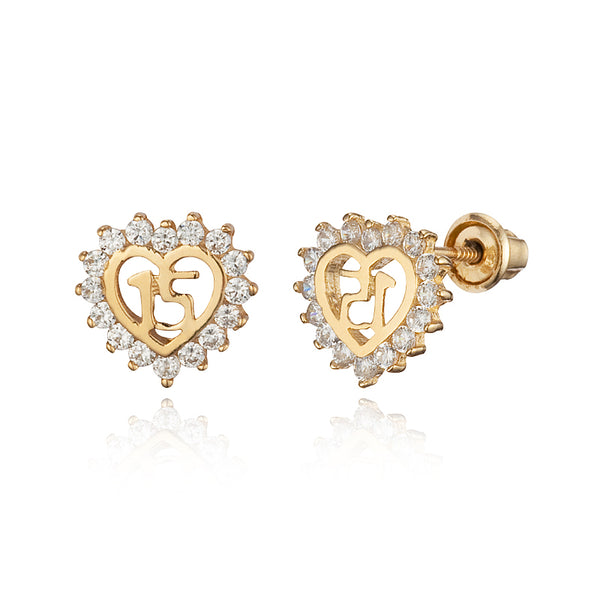 14k Gold Plated Brass Quince Anos Cubic Zirconia Screwback Girls Earrings with Sterling Silver Post