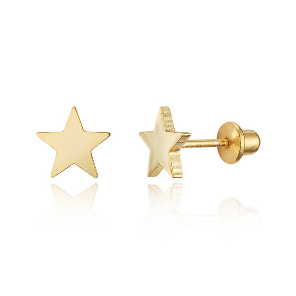 b73a938a8 14k Gold Plated Brass Plain Star Screwback Baby Girls Earrings with Silver  Post ...