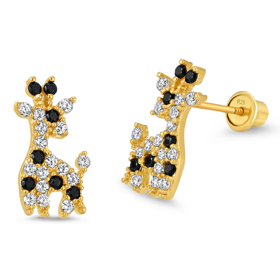 14k Gold Plated Brass Giraffe CZ Screwback Baby Girls Earrings Silver Post