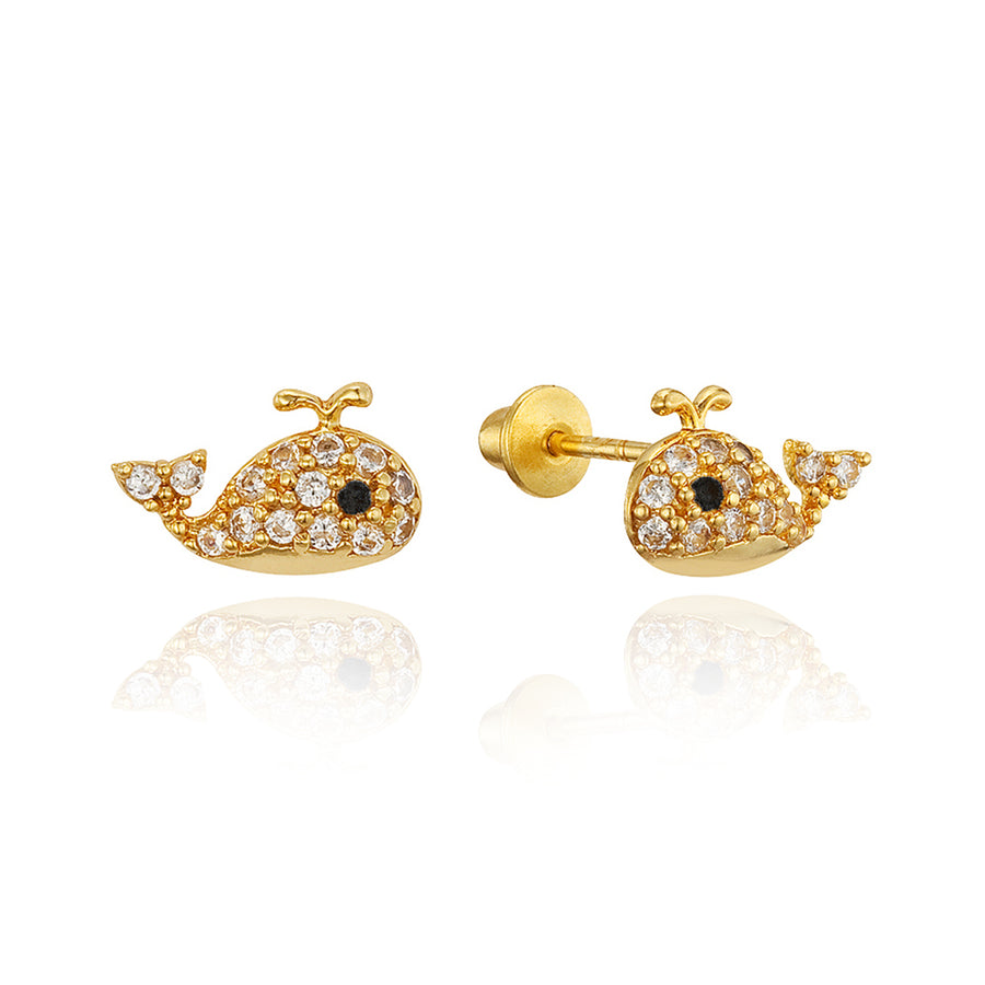 14k Gold Plated Brass Whale CZ Screwback Baby Girls Earrings with Silver Post