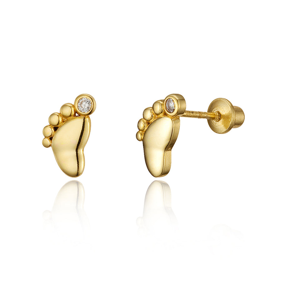 14k Gold Plated Brass Foot Print CZ Screwback Baby Earrings Sterling Silver Post