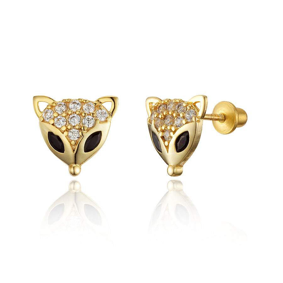14k Gold Plated Brass Fox CZ Screwback Baby Girls Earrings Sterling Silver Post