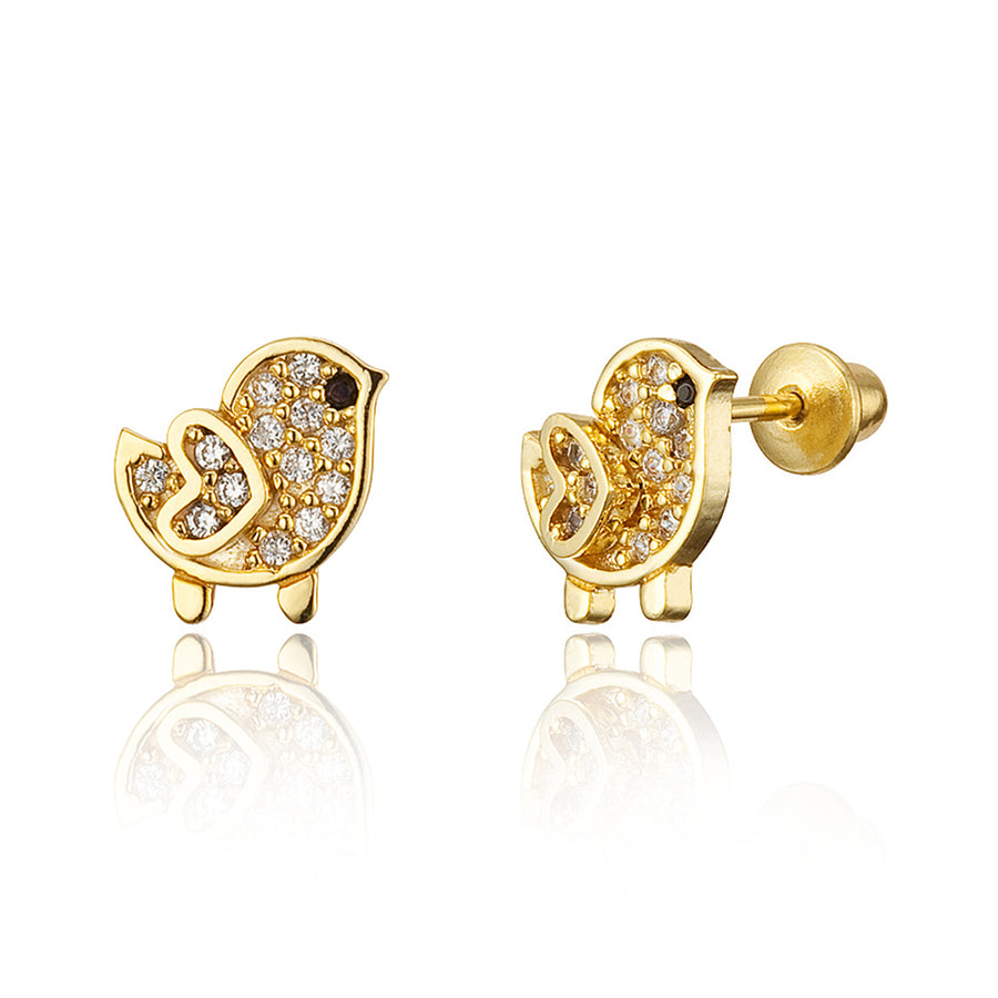 14k Gold Plated Brass Chick CZ Screwback Baby Girls Earrings with Silver Post