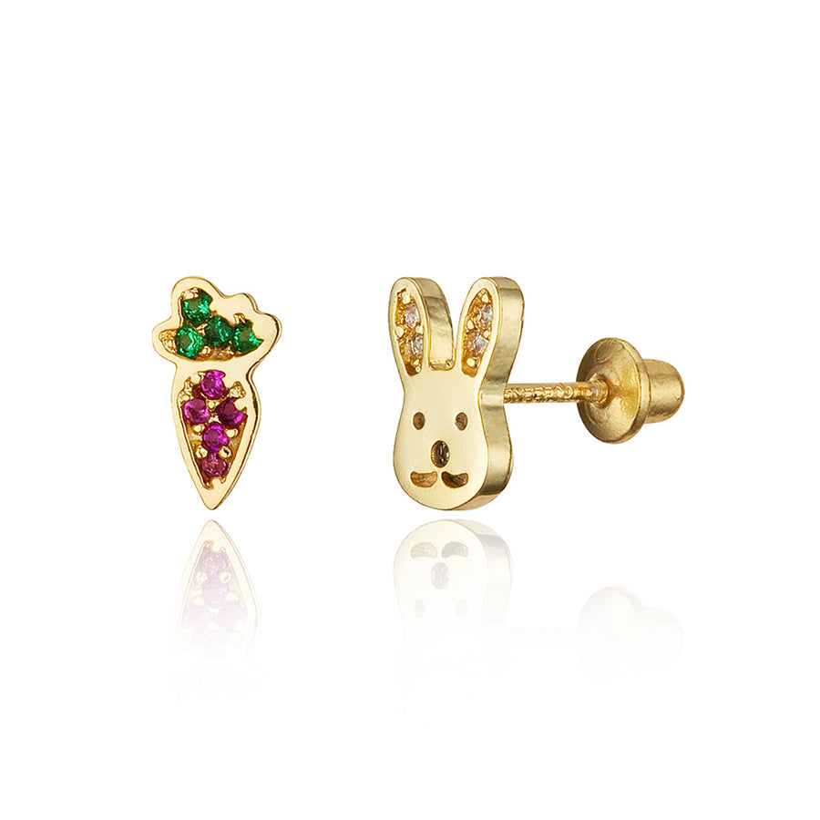 14k Gold Plated Brass Rabbit Carrot CZ Screwback Girls Earrings with Silver Post